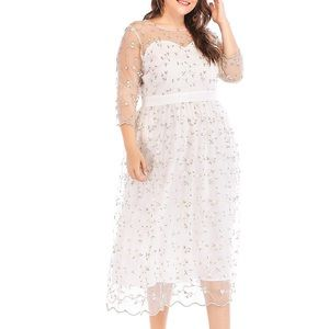 Dresses & Skirts - Plus Crystal Vine Fairy Lace Dreamy Dress, 14-16